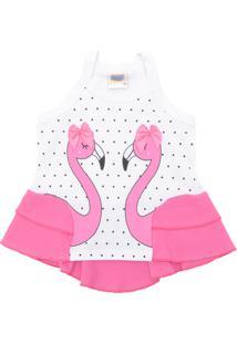 Camiseta Duzizo Menina Flamingo Branca