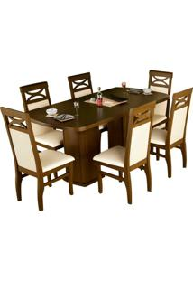 Mesa Prisma 160Cm Capuccino Com 6 Cadeiras Prince Tecido Sued Bege