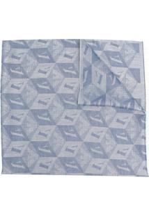 Emporio Armani Echarpe Monogramada Com Acabamento Desfiado - Azul