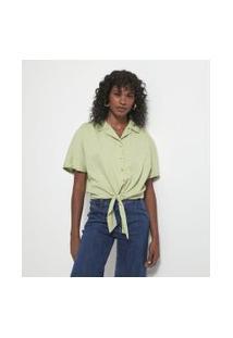 Camisa Manga Curta Com Amarração Na Frente E Elástico Nas Costas | Marfinno | Verde | Pp