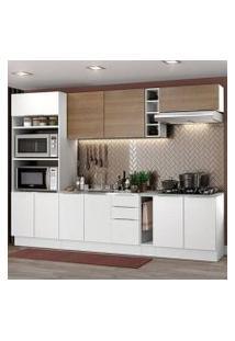 Cozinha Completa Madesa Stella 290001 Com Armário E Balcão Branco/Rustic Cor:Branco/Branco/Rustic