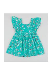 Vestido Infantil Estampado Floral Manga Curta Com Babados Verde Água