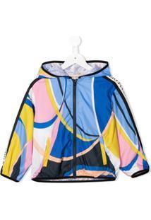 Emilio Pucci Junior Abstract Print Bomber Jacket - Azul