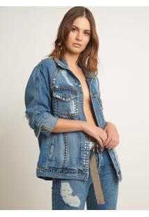 Jaqueta Bobô Celine Tachas Jeans Azul Feminina (Jeans Medio, M)