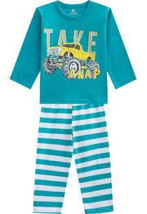 Pijama Menino Em Malha Listrado Azul