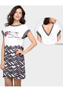 Vestido Desigual Estampado Decote Costas - Feminino