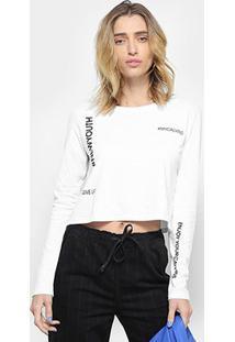 Camiseta Cropped Calvin Klein Hashtag Manga Longa - Feminino-Branco