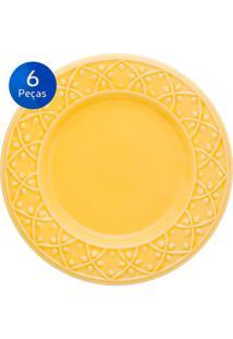 Conjunto De Pratos Para Sobremesa 6 Peças Mendi Sicilia - Oxford - Amarelo