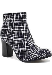 110806f1dc Bota Feminina Cravo E Canela Ankle Boot Salto Ziper