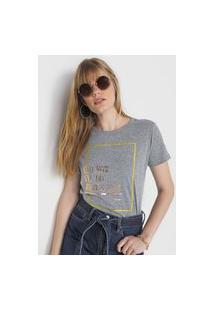 Camiseta Polo Wear Lettering Foil Cinza