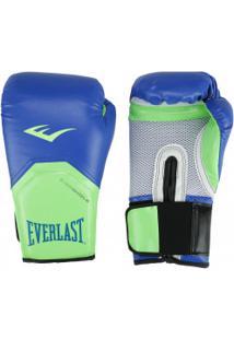 Luvas De Boxe Everlast Pró Style Training - 12 Oz - Adulto - Azul/Verde Cla