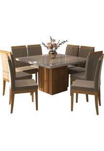 Sala De Jantar Ana 130Cm X 130Cm Com 8 Cadeiras Savana/Off White Joli