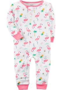 45c1f53e67f5f4 Pijama Bebê Carter´S Footless Heron In Cotton Feminina - Feminino-Branco