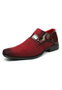 Sapato Masculino Social Vermelho Fashion Shoe Sem Cadarço Verniz Life Rock