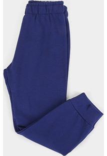 Calça Moletom Infantil Kyly Básica Masculina - Masculino-Azul Escuro