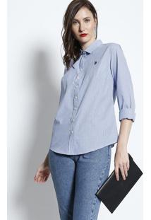 Camisa Listrada - Branca & Azulus Polo