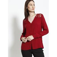 dae0cf81a Camisa Com Renda - Vermelho Escuroendless