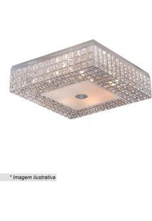 Plafon Quadrado Com Armação Colmeia- Cristal & Inox-Hevvy