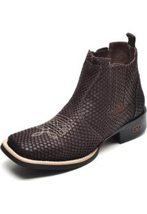 Bota Country Top Franca Shoes Escama Bico Quadrado Masculina - Masculino-Café