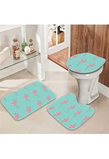 Jogo Tapetes De Banheiro Flamingos - Único