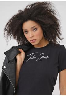 Camiseta Triton Lettering Preta - Preto - Feminino - Algodã£O - Dafiti