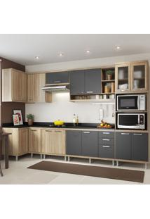 Cozinha Completa 15 Portas 3 Gavetas Com Tampo Sicilia 5831 Premium Argila/Grafite - Multimóveis