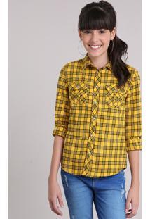 87f111a74 Camisa Infantil Xadrez Manga Longa Gola Esporte Amarelo Escuro