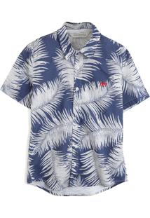 Camisa Aeropostale Menino Folhagem Azul/Cinza