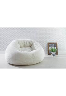 Puff Para Sala Redondo Peluciado Cozy - Cor Bege - 120X110X70Cm