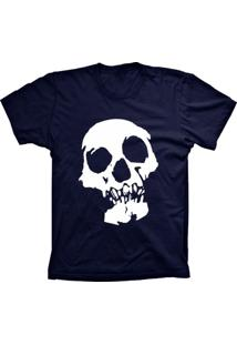 Camiseta Baby Look Lu Geek Caveira Azul Marinho