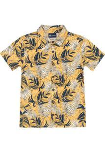 Camisa Infantil Em Meia Malha Amarelo