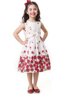 Vestido Pipoca Doce Barrado Floral Vermelho
