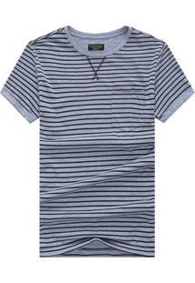 Camiseta Listrada Detail V - Cinza