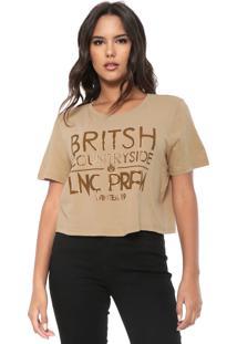 Camiseta Cropped Lança Perfume Britsh Bege