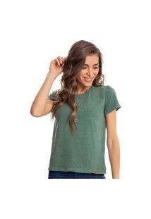 Camiseta Feminina Estonada Malha Premium Verde Eucalipto - Area Verde