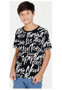 de012426ee Camiseta Juvenil Estampa Cidades Manga Curta Marisa