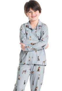 Pijama Infantil Unissex Abotoado Longo Estampado Galgo