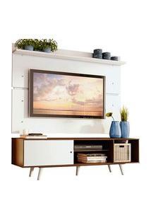 Rack Madesa Dubai E Painel Para Tv Até 65 Polegadas Com Pés Rustic/Branco 6E09 Branco