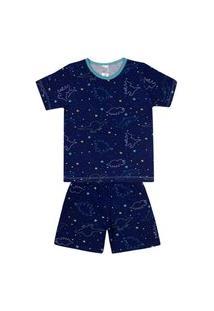 Conjunto Pijama Menino Em Meia Malha Marinho Rotativo - Liga Nessa