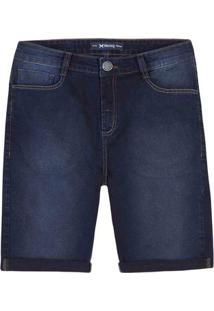 Bermuda Jeans Masculina Slim Em Algodão Com Lavação