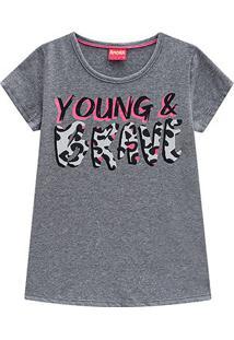 Blusa Infantil Amora Yong Brave Onça Feminina - Feminino-Mescla