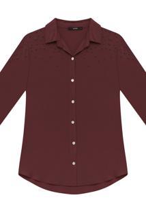 Camisa Manga 3/4 Pérolas Tecido Bordo Red Wine - Lez A Lez