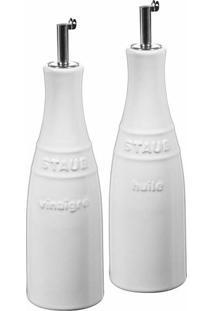 Galheteiro Óleo E Vinagre Cerâmica Branco Staub