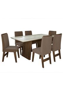 Conjunto De Mesa Para Sala De Jantar Com Tampo De Vidro E 6 Cadeiras Vigo -Dobuê Movelaria - Castanho / Branco Off / Castor Bord