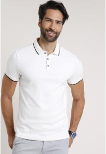 Polo Masculina Slim Fit Texturizada Manga Curta Off White