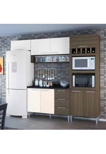Cozinha Compacta Yasmin 8 Pt 3 Gv Castanho E Branca