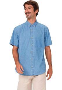 Camisa Jeans Masculina Com Bolso Aplicado Azul