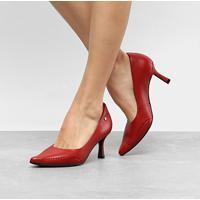 bcc888a4c0 Scarpin Couro Ramarim Salto Alto Total Comfort - Feminino-Vermelho