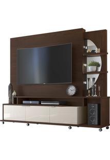 Estante Home Elegance Álamo/Off White Para Tv Até 55 Polegadas 3 Portas E Luzes De Led - Lukaliam