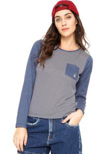 37977e32c Camiseta Volcom Lived Stripe Azul Cinza